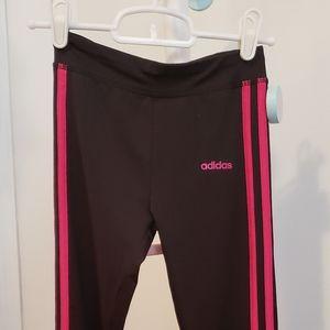Adidas Black with Pink Stripe Leggings
